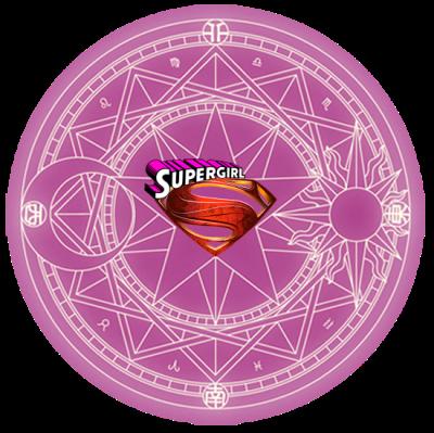 Imagen de la insignia mágica de Sakura por CLAMP, más el escudo por DC Comics.