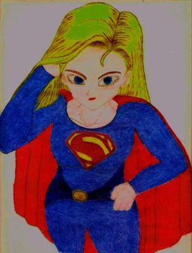 Supergirl (estilo Man of Steel), basado del personaje de la Androide 18 de Dragon Ball Z (de Akira Toriyama), hecha por Juan Carlos Quenguan.