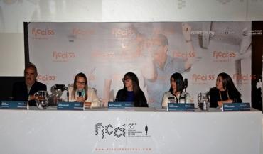 Salvo Basile (Presidente Junta FICCI), Lina Rodríguez (Gerente FICCI), Diana Bustamante (Directora Artística FICCI), Adelfa Martínez (Directora de Cinematografía MinCultura) y Silvia Echeverri (Directora Comisión Fílmica y Promoción Proimagenes Colombia)