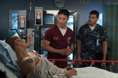 "CHICAGO MED -- ""Win Loss"" Episode 203 -- Pictured: (l-r) Maynor Alvarado as Marco, Brian Tee as Ethan Choi, Alex Hernandez as Javier -- (Photo by: Elizabeth Sisson/NBC)"