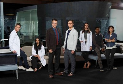 PURE GENIUS -- Season: Pilot --  Pictured: (l-r) Ward Horton as Dr. Scott Strauss, Reshma Shetty as Dr. Talaikha Channarayapatra, Dermot Mulroney as Dr. Walter Wallace, Augustus Prew as James Bell, Odette Annable as Dr. Zoe Brockett, Aaron Jennings as Dr. Malik Verlaine, Brenda Song as Angie Cheng -- (Photo by: Sonja Flemming/CBS/Universal Television)